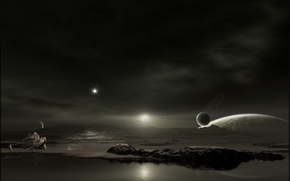 Обои вода, корабль, Планета