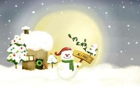 Обои снеговик, рождество, рисунок, новый год
