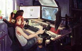 Картинка компьютер, девушка, игра, art, 4chan, мониторы, джойстики, doomfest, vivian james