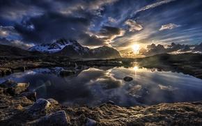 Обои небо, озеро, горы