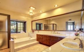 Картинка зеркало, ванна, шкаф, Design, Bathroom, Interior