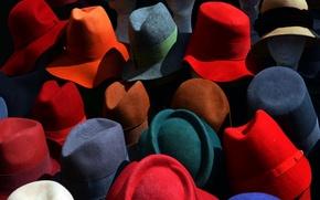 Обои цвет, шляпы, фон