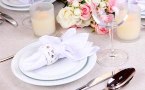 Картинка украшения, цветы, букет, свечи, бокалы, flowers, таблица, glasses, bouquet, candles, table decorations