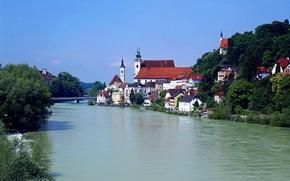 Картинка река, дома, австрия