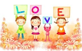 Обои настроения, дети, буквы, любовь, ромашки, ярко, радость, счастье