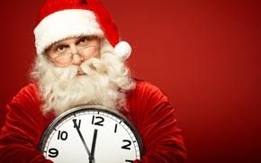 Картинка часы, очки, борода, дед мороз