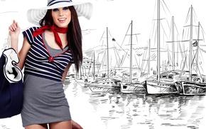 Картинка девушка, рисунок, яхты, шляпа, брюнетка, платок, матроска