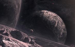 Обои космос, звезды, поверхность, ландшафт, планеты, спутники