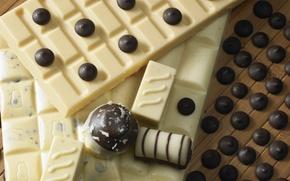 Обои конфеты, белый, шоколадка, шоколад, темный