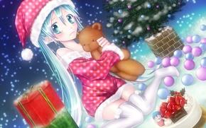 Обои ёлочка, подарки, вокалоид, аниме, новый год, настроение, мику, мишка