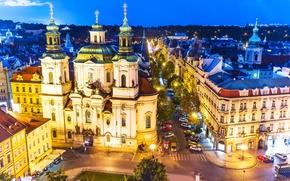 Картинка город, огни, вечер, Прага, Чехия, столица