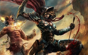 Обои девушка, кровь, бой, ярость, монстры, Diablo, fanart, Demon Hunter