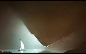 Картинка озеро, лодка, парус, пещера