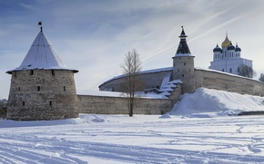 Картинка зима, стена, собор