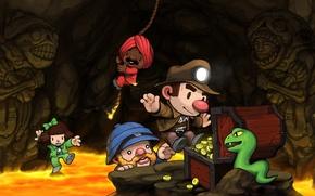 Картинка игра, пещера, приключения, Spelunky