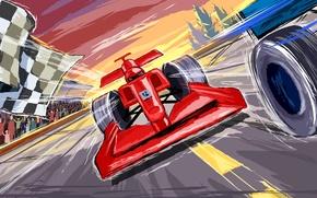 Картинка рисунок, вектор, гонки, формула 1, ferrari, трибуны, автоспорт, финиш