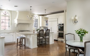 Обои люстра, мебель, стол, стулья, бра, кухня, дизайн