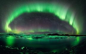 Картинка вода, северное сияние, льды, север, Исландия