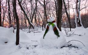 Картинка зима, Sunset, Snowman