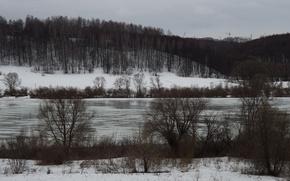 Картинка снег, деревья, лёд, весна, Ока, Калуга