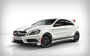 Картинка белый, тюнинг, Mercedes-Benz, Мерседес, диски, спереди, AMG, A45, агрессивный