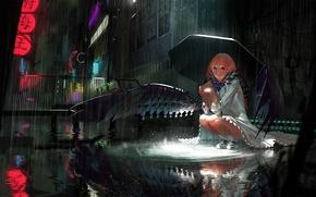 Картинка девушка, ночь, город, дождь, улица, крылья, зонт, арт, karasu-san, syh3iua83