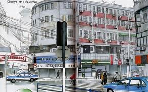 Картинка машины, город, Япония, светофор, перекресток, переход, манга, art, магазины, Chaiko, люби
