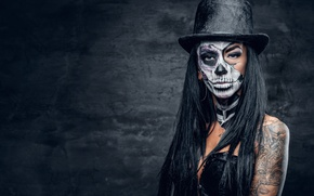 Картинка skull, hat, female, makeup, day of the dead