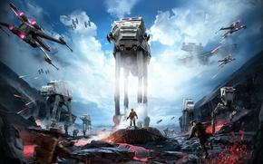 Обои фронт битвы, штурмовики, имперцы, Star Destroyer, at-st, x-wing, tie-fighter, Звёздный разрушитель, повстанцы, битва, star wars, ...
