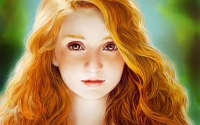 Картинка девочка, взгляд, рыжая, лицо, глаза, волосы