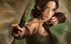 Картинка арт, Jennifer Lawrence, The Hunger Games, голодные игры, Katniss Everdeen, Дженнифер Лоуренс, стрела, лук