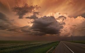 Картинка тучи, поле, природа, дорога, небо, горизонт, пейзаж