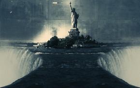 Картинка водопад, статуя свободы, стена