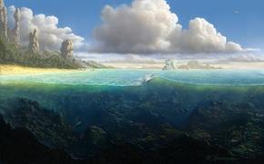 Картинка песок, море, волны, пляж, облака, рыбы, пейзаж, камни, пальмы, скалы, остров, кораллы, арт, подводный мир, ...
