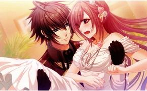 Картинка жемчуг, бусы, невеста, слёзы, art, свадьба, жених, смущение, visual novel, glass heart princess, yuki kanami, …