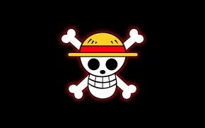 Картинка череп, свечение, шляпа, кости, черный фон, веселый, ван пис, соломенная шляпа