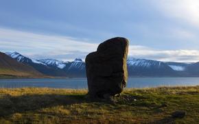 Картинка небо, горы, Исландия, Iceland, фьорд, дольмен, dolmen