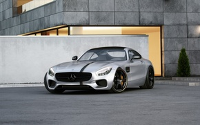 Обои mercedes-benz, amg, gt, tuned, wheelsandmore, 600hp, silver, front