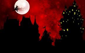 Картинка птицы, замок, праздник, луна, хэллоуин, баба-яга