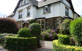 Обои цветы, дизайн, дом, сад, Великобритания, кусты, калитка, Windermere
