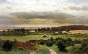 Картинка дорога, поле, небо, облака, деревья, пейзаж, картина, коровы, луг, живопись, холст, кусты, стадо, Крыжицкий, лесные ...