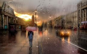 Картинка девушка, дождь, зонт, Санкт-Петербург, Невский проспект