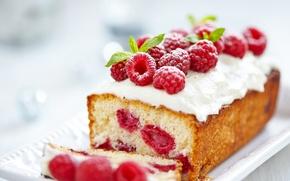 Картинка ягоды, малина, еда, крем, выпечка, сладкое, кекс, пудра