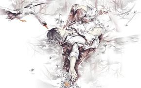 Картинка вода, отражение, крылья, руки, лепестки, галстук, парень, art, гусь, закрытые глаза, Eno