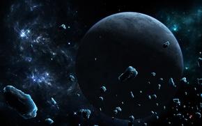 Картинка лед, космос, звезды, туманность, планета, астероиды, арт, метеориты