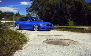 Картинка бмв, BMW, wheels, blue, 335i, vossen, 3 серия, f30, frontside