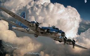 Картинка луна, молния, ВВС США, Flying Fortress, Boeing, B-17