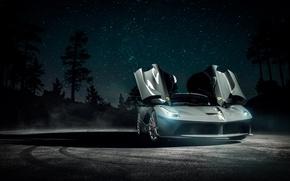 Картинка Dark, Ferrari, Front, Smoke, Supercar, Vossen, Wheels, LaFerrari, Doors, Nigth