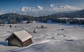 Картинка зима, снег, деревья, горы, склон, Бавария, Альпы, германия, димик