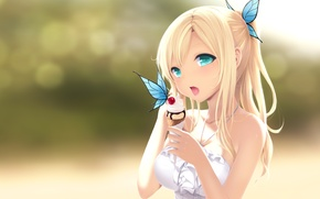 Обои бабочка, мороженое, девочка, рожок, сладкое, boku wa tomodachi ga sukunai, kashiwazaki sena